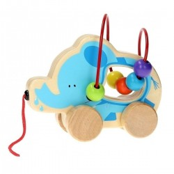 Elephant - Wooden Rolling Animal with Bead Track, Joueco