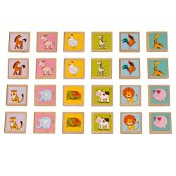 Игра за памет с 24 дървени плочки - Животни, Lucy&Leo