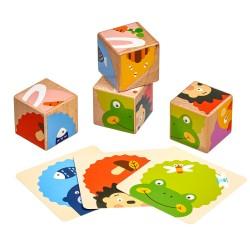 Дървени кубчета - Кой какво яде?, 4 кубчета, 6 пъзела,...
