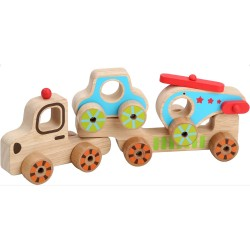 Дървен автовоз с количка и хеликоптер, Lucy&Leo
