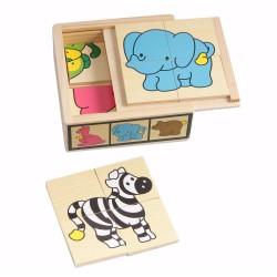 Дървени пъзели Pino, Диви животни, 6 пъзела по 4 части, в...