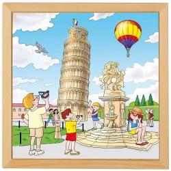 Wooden Puzzle Educo European cities - Pisa