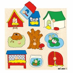 Wooden Knob Puzzle Surprise - Animal Houses