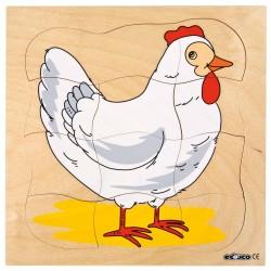 От пиленце до кокошка - дървен пъзел, представящ растежа,...