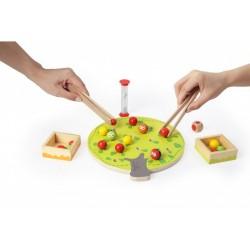 Дървена игра за сръчност, с пинсети, Pino - Ябълково дърво