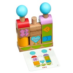 Wooden Toy Set - Shapes & Emotions Smart stacker, Lucy&Leo