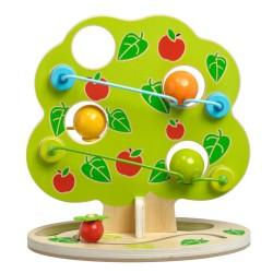 Дървена интерактивна игра-писта - Ябълково дърво с топки,...