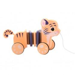 Дървена играчка за дърпане, Jouéco - Тигърче