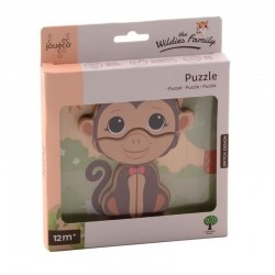 The Wildies Family Wooden Puzzle - Monkey, Joueco