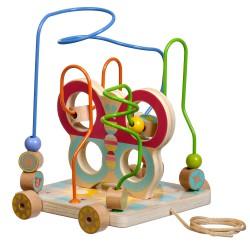 Дървена играчка за дърпане и голям лабиринт с мъниста -...