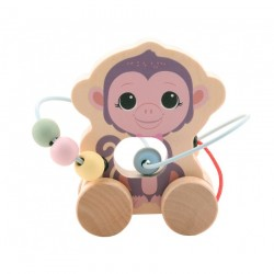 Wooden Rolling Animal with Bead Track, Joueco - Monkey,...