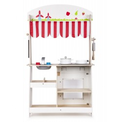Wooden Pretend Play Toy Kitchen and Store Stand, 2 in 1,...