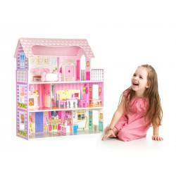 Wooden dollhouse with furniture - Rose Residence, EcoToys