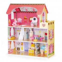 Wooden Dollhouse with Furniture and LED lighting, EcoToys