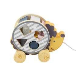 Wooden pull-along toy Hedgehog with Sorting Wheel,...