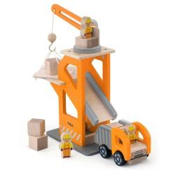 Дървен детски кран с камион, Viga