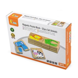 Magnetic Puzzle Block - 32pcs Set Animals, Viga