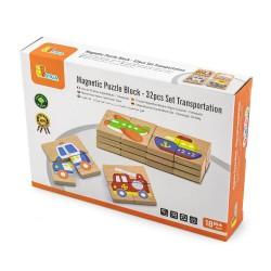 Magnetic Puzzle Block - 32pcs Set Transportation, Viga