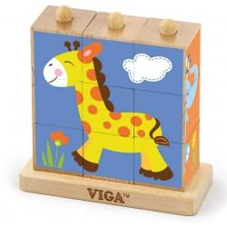 Дървени кубчета пъзел - Диви животни, 9 кубчета, Viga