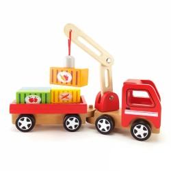 Дървена играчка - Камион с кран, Viga