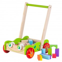 Wooden Walker with building blocks, EcoToys