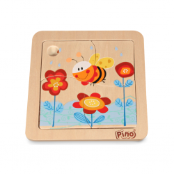 Дървен мини пъзел Pino - Пчела, 4 части