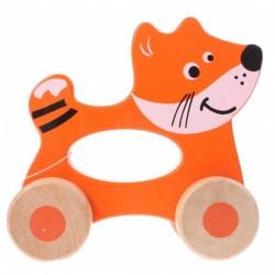 Дървено животинче с колела за бутане, Jouéco - Кума Лиса