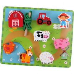 Wooden Lacing Set - Farm