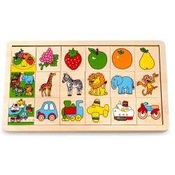 Дървен пъзел Pino - Логическа игра, 3 теми