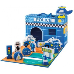 Foldable Police Station with Wooden Figures, 13 pieces