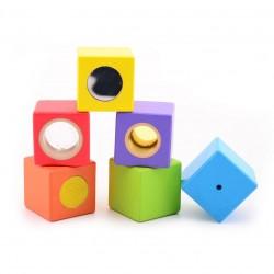 Дървени активни сензорни кубчета Jouéco, 6 кубчета